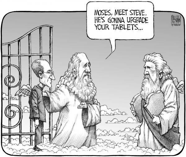 Steve Jobs, Cartoon, Steve Jobs In Heaven