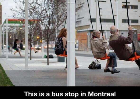 Bus stop swing Montreal
