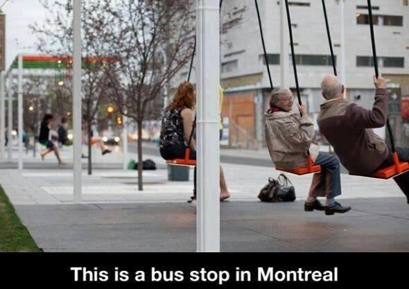Bus stop swing Montreal